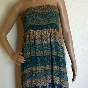 Blue Bird Smocked Top Boho Strappless Maxi Dress